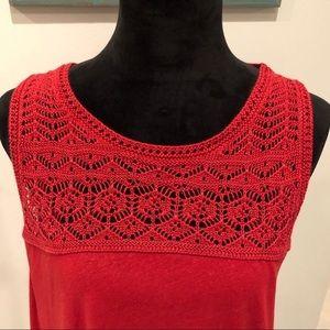 Loft Crochet Tank Red Medium